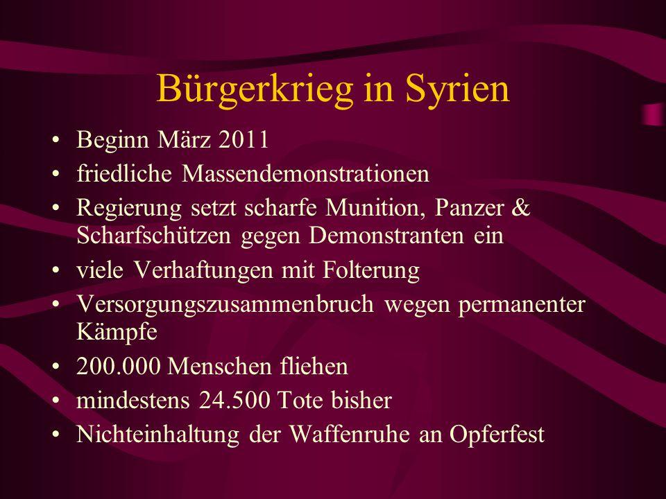 Bürgerkrieg in Syrien Beginn März 2011