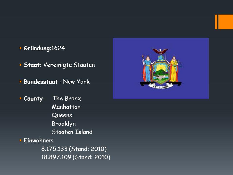 Gründung:1624 Staat: Vereinigte Staaten. Bundesstaat : New York. County: The Bronx. Manhattan.