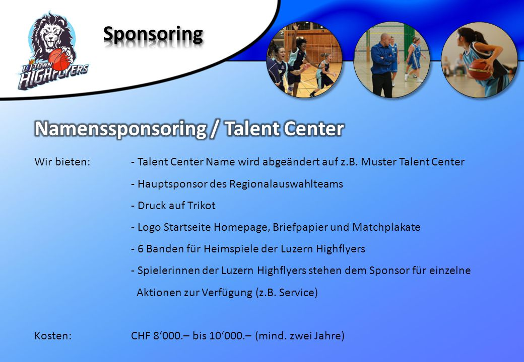 Namenssponsoring / Talent Center