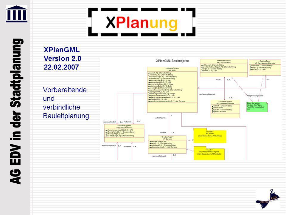 XPlanGML Version 2.0 22.02.2007 Vorbereitende und verbindliche Bauleitplanung