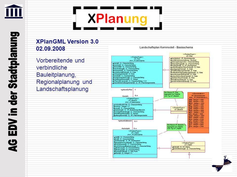 XPlanGML Version 3.0 02.09.2008 Vorbereitende und verbindliche Bauleitplanung, Regionalplanung und Landschaftsplanung.