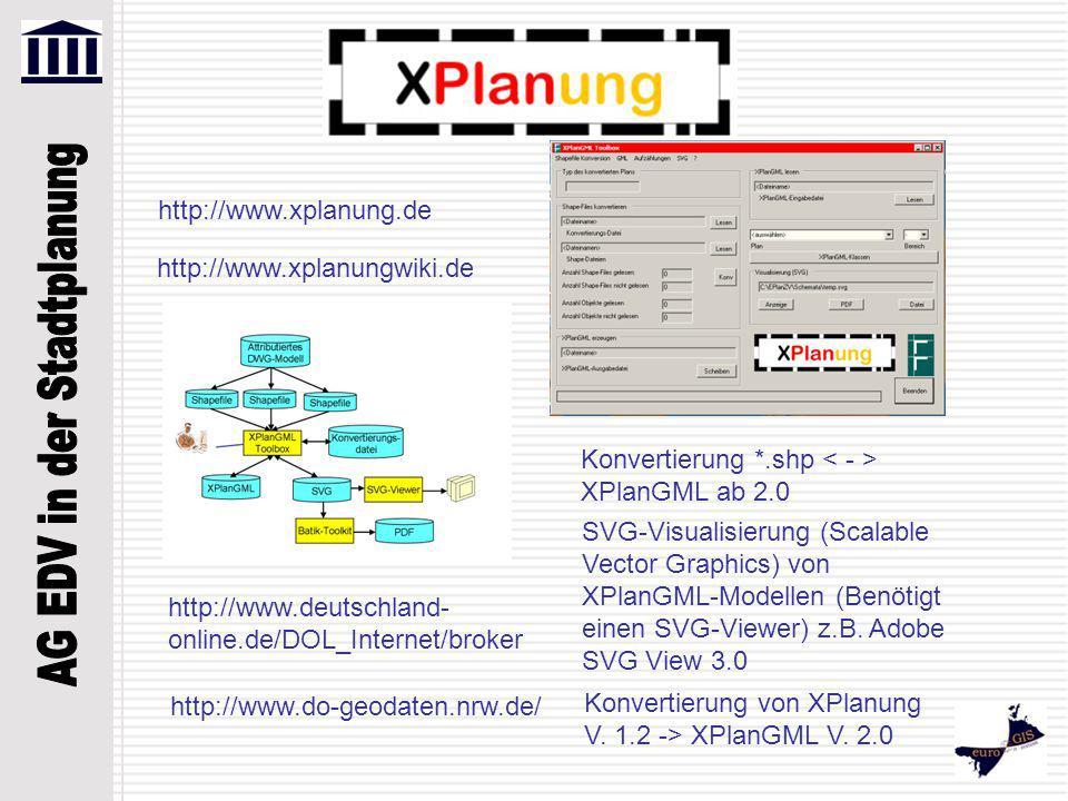 http://www.xplanung.de http://www.xplanungwiki.de. Konvertierung *.shp < - > XPlanGML ab 2.0.