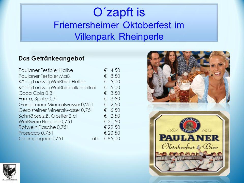 Das Getränkeangebot Paulaner Festbier Halbe € 4,50