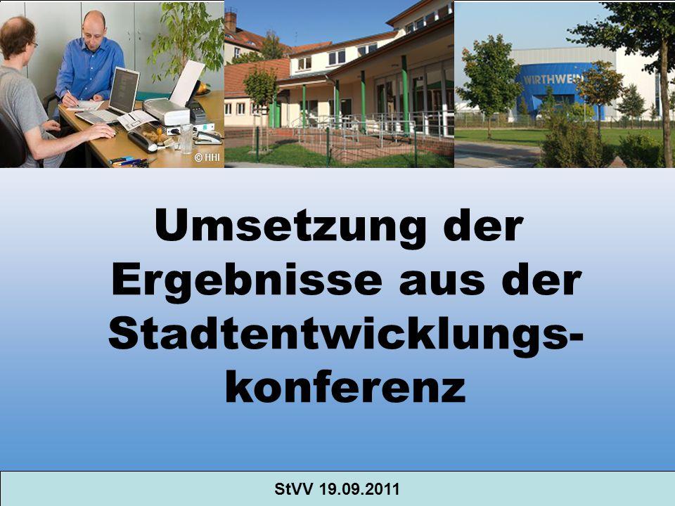 Umsetzung der Ergebnisse aus der Stadtentwicklungs- konferenz