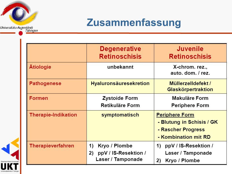 Zusammenfassung Degenerative Retinoschisis Juvenile Retinoschisis Sz