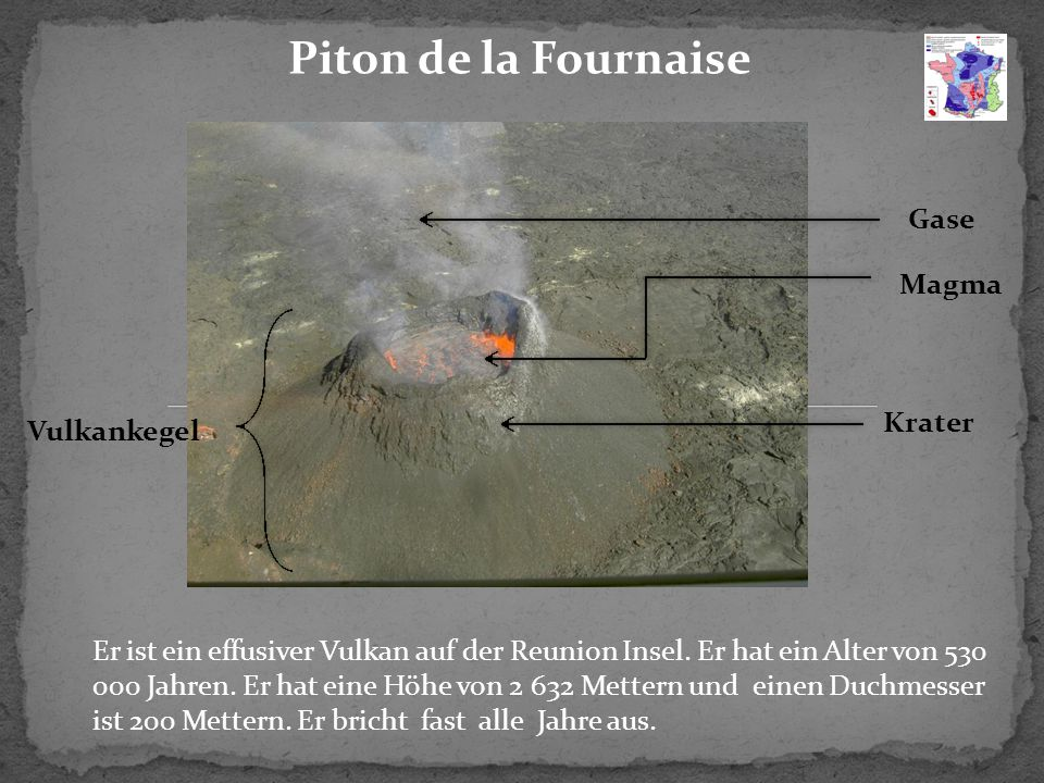 Piton de la Fournaise Gase Magma Krater Vulkankegel