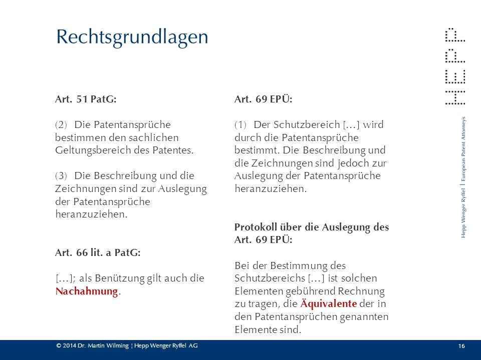 Rechtsgrundlagen Art. 51 PatG: