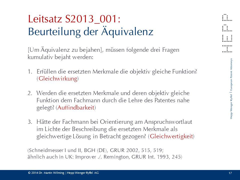 Leitsatz S2013_001: Beurteilung der Äquivalenz