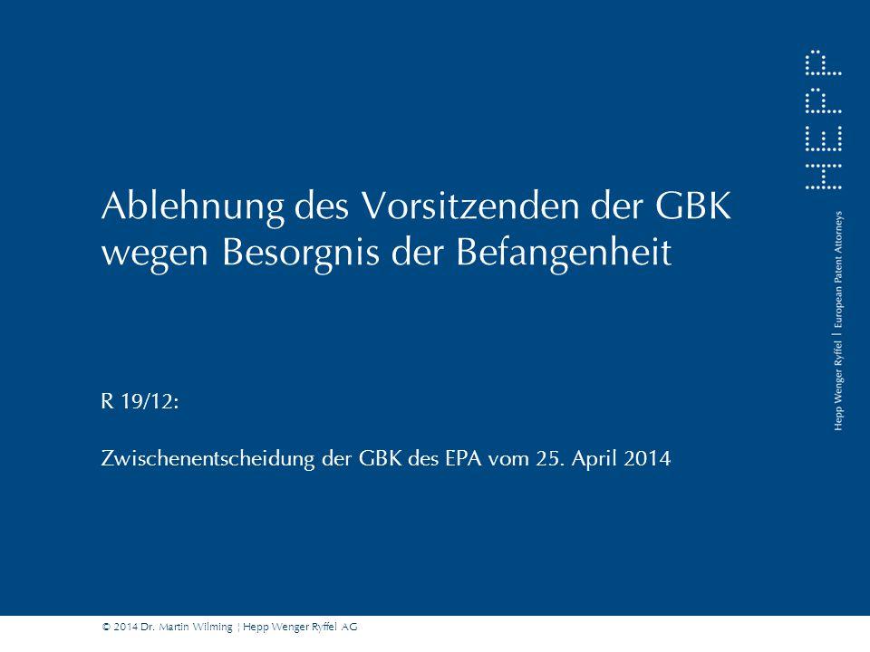 Ablehnung des Vorsitzenden der GBK wegen Besorgnis der Befangenheit