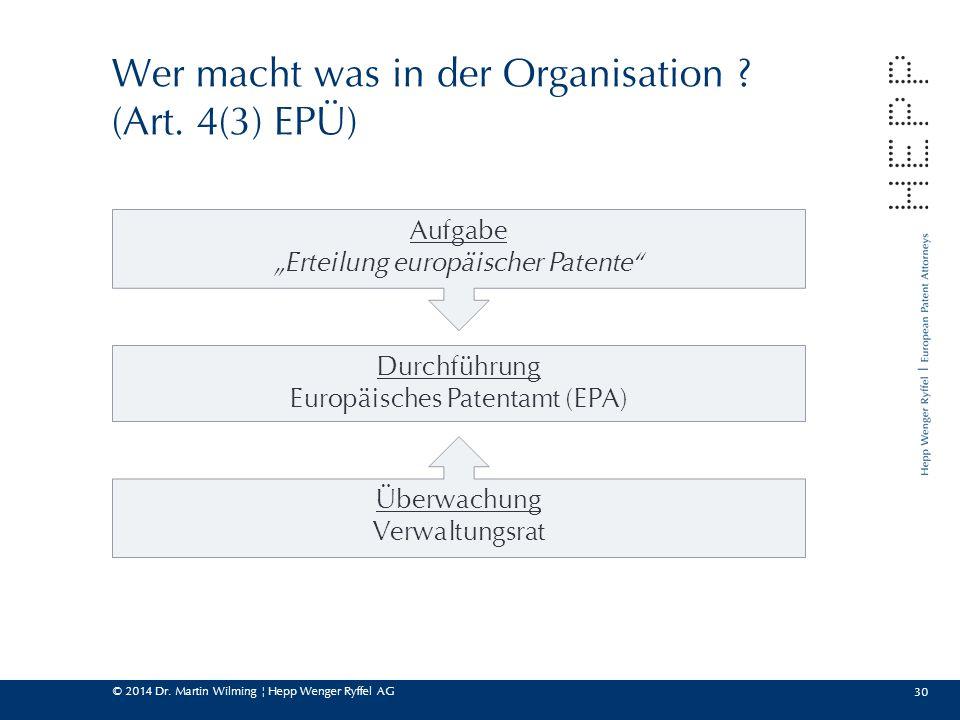 Wer macht was in der Organisation (Art. 4(3) EPÜ)