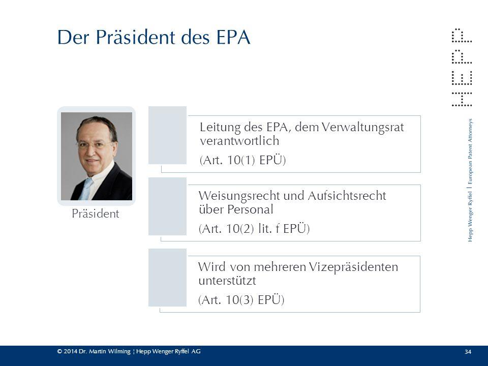 Der Präsident des EPA Präsident. Leitung des EPA, dem Verwaltungsrat verantwortlich. (Art. 10(1) EPÜ)