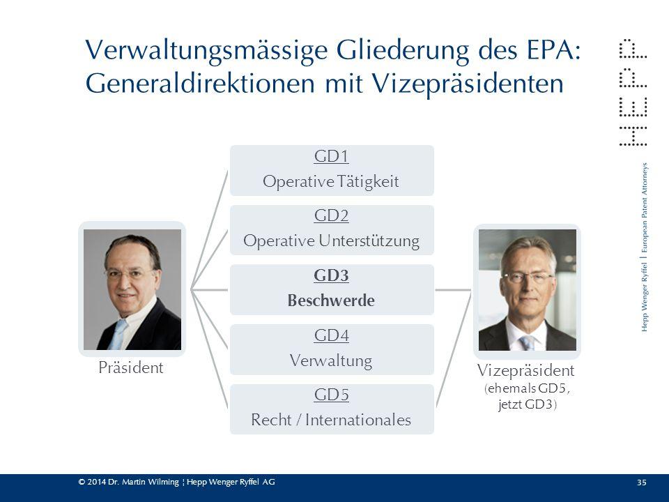 Verwaltungsmässige Gliederung des EPA: Generaldirektionen mit Vizepräsidenten