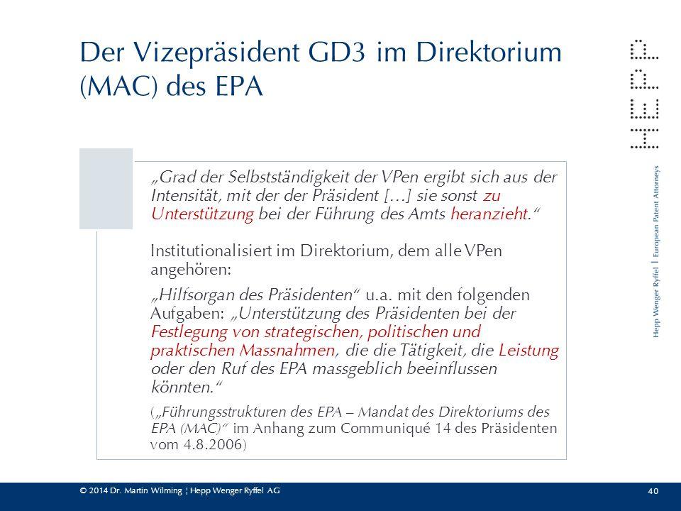 Der Vizepräsident GD3 im Direktorium (MAC) des EPA