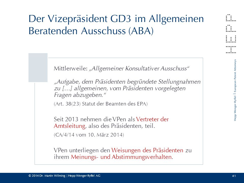 Der Vizepräsident GD3 im Allgemeinen Beratenden Ausschuss (ABA)