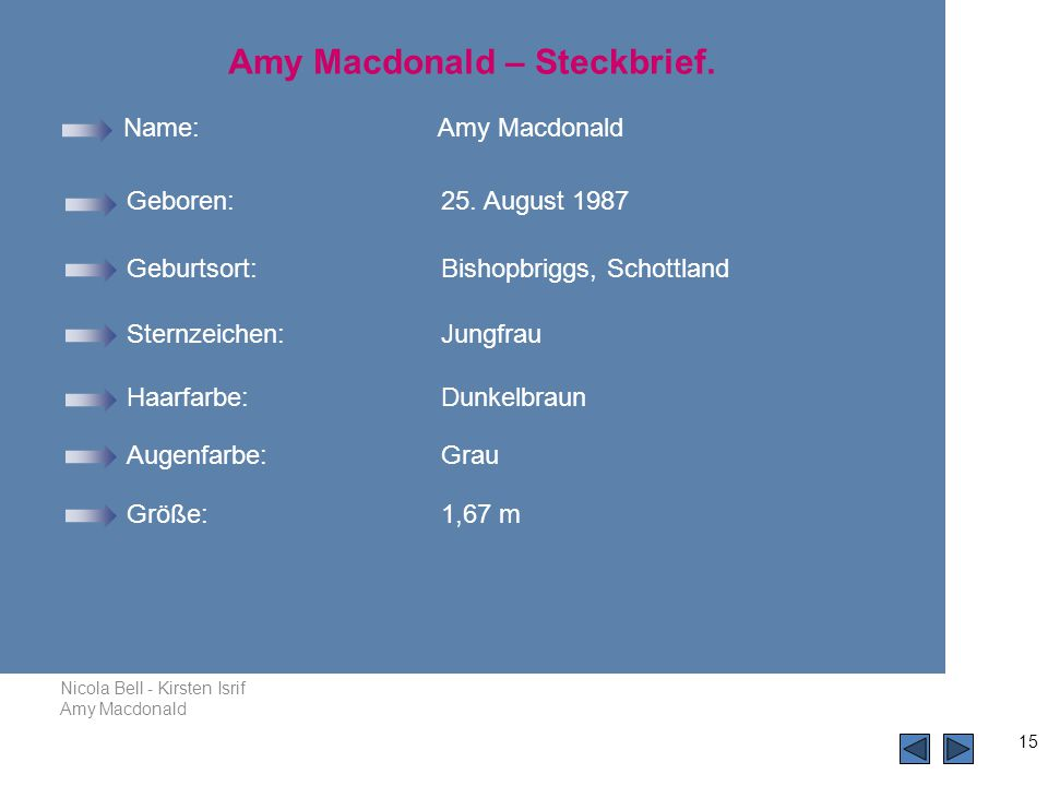 Amy Macdonald – Steckbrief.