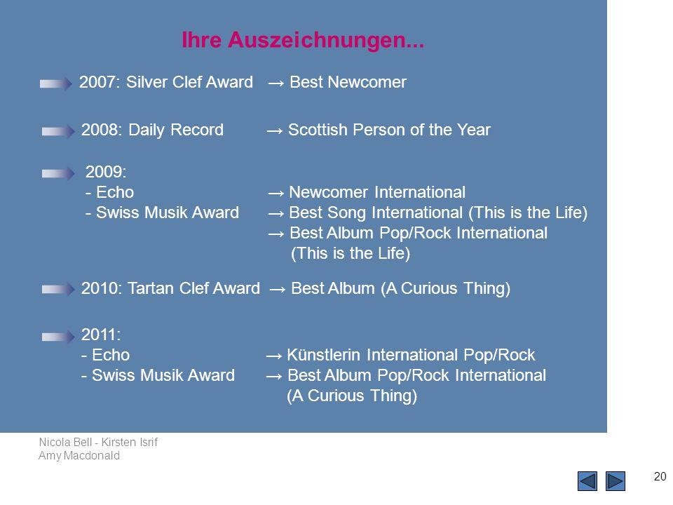 Ihre Auszeichnungen... 2007: Silver Clef Award → Best Newcomer