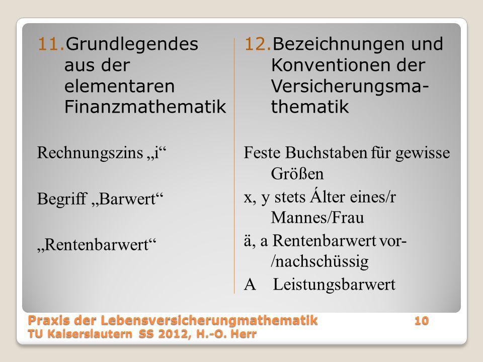 Grundlegendes aus der elementaren Finanzmathematik