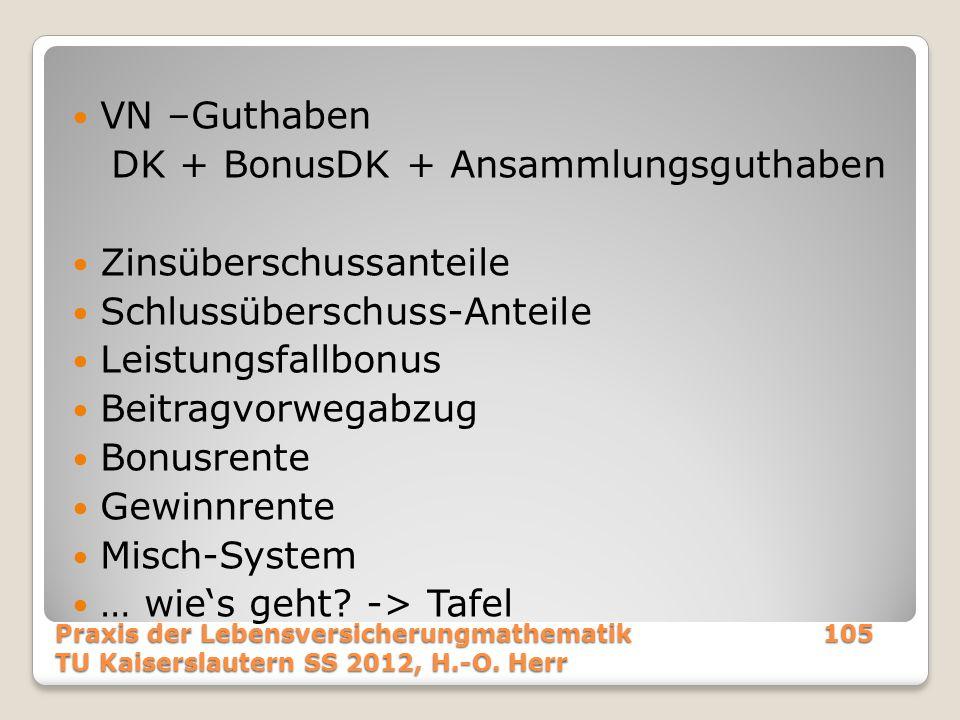 DK + BonusDK + Ansammlungsguthaben Zinsüberschussanteile