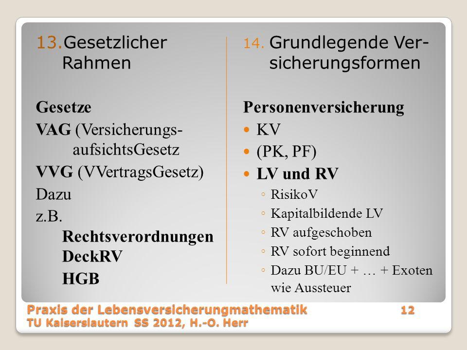 VAG (Versicherungs- aufsichtsGesetz VVG (VVertragsGesetz) Dazu