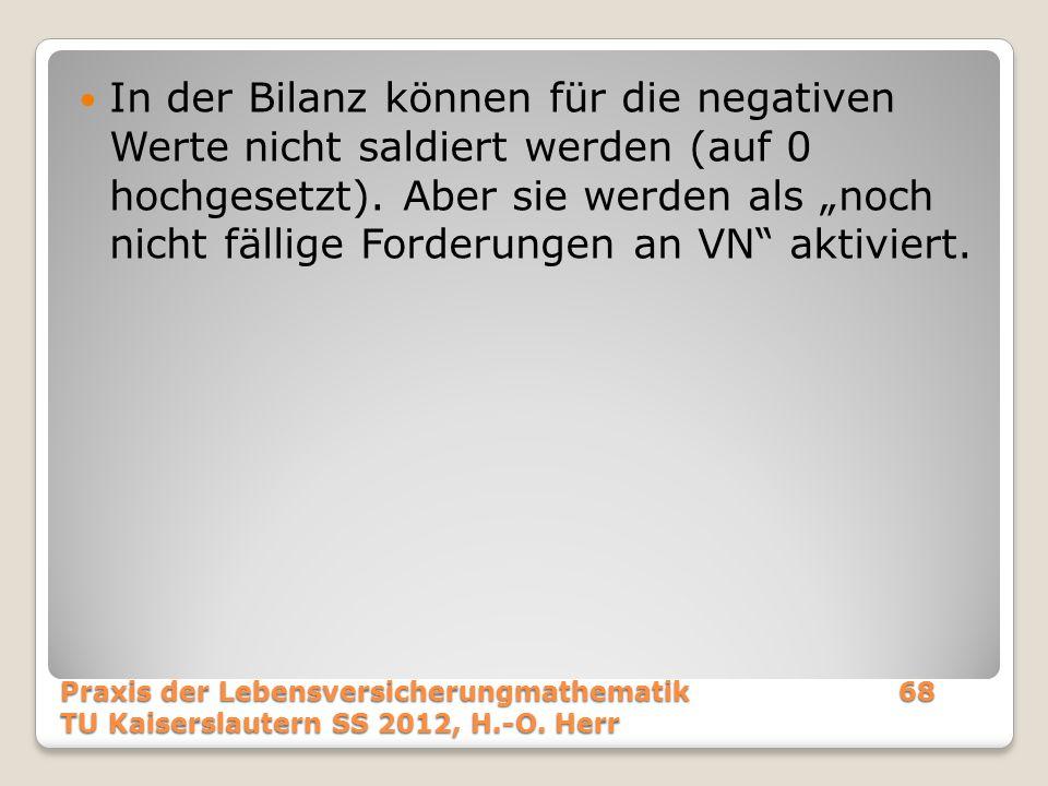 """In der Bilanz können für die negativen Werte nicht saldiert werden (auf 0 hochgesetzt). Aber sie werden als """"noch nicht fällige Forderungen an VN aktiviert."""