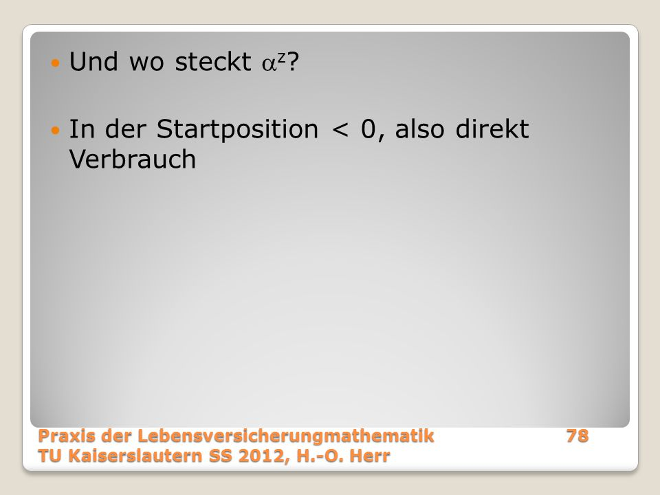 In der Startposition < 0, also direkt Verbrauch