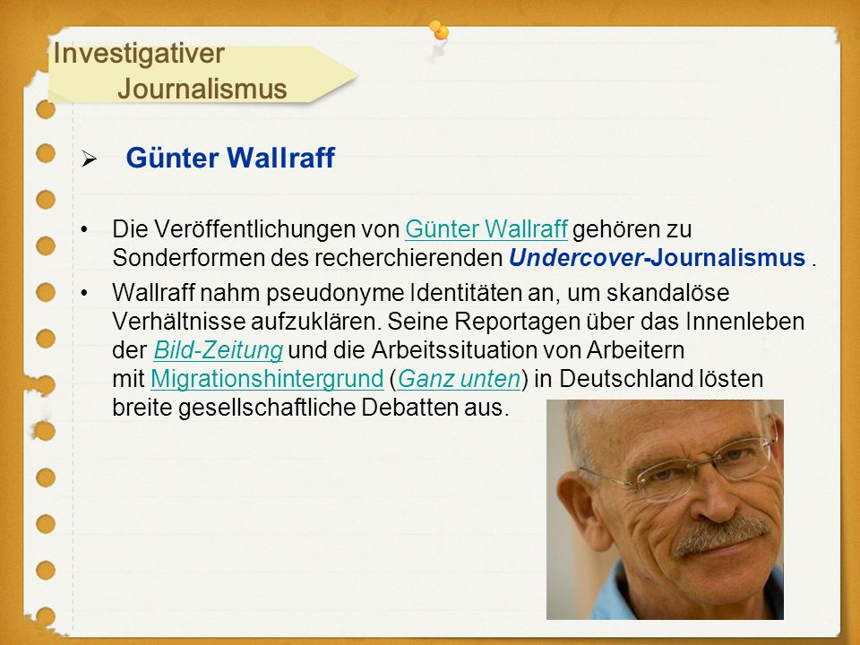Investigativer Journalismus Günter Wallraff