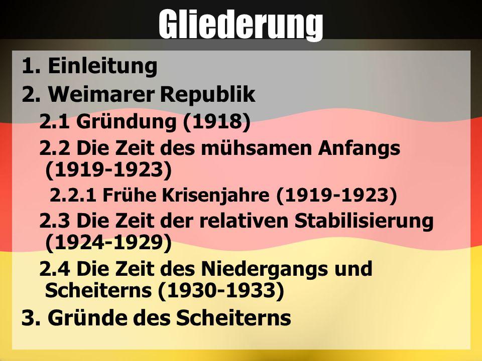 Gliederung 1. Einleitung 2. Weimarer Republik 3. Gründe des Scheiterns