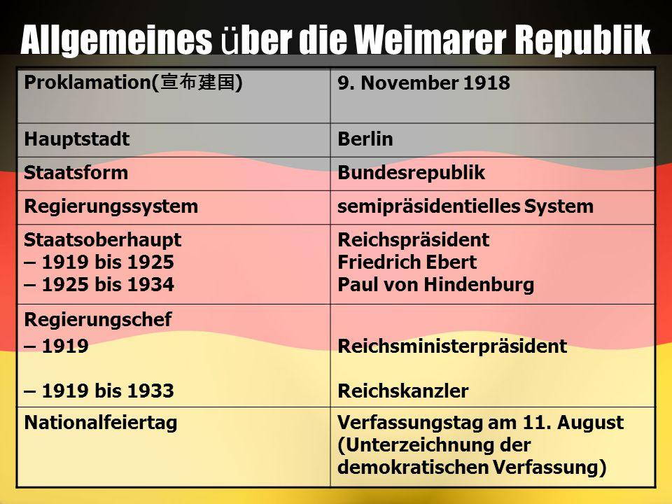 Allgemeines über die Weimarer Republik