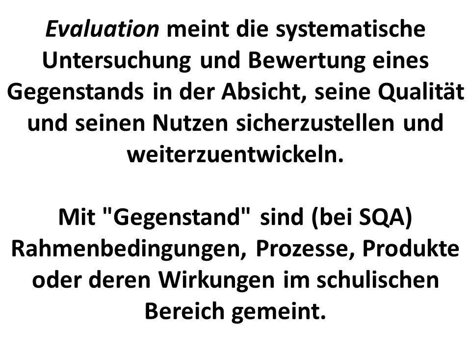 Evaluation meint die systematische Untersuchung und Bewertung eines Gegenstands in der Absicht, seine Qualität und seinen Nutzen sicherzustellen und weiterzuentwickeln.