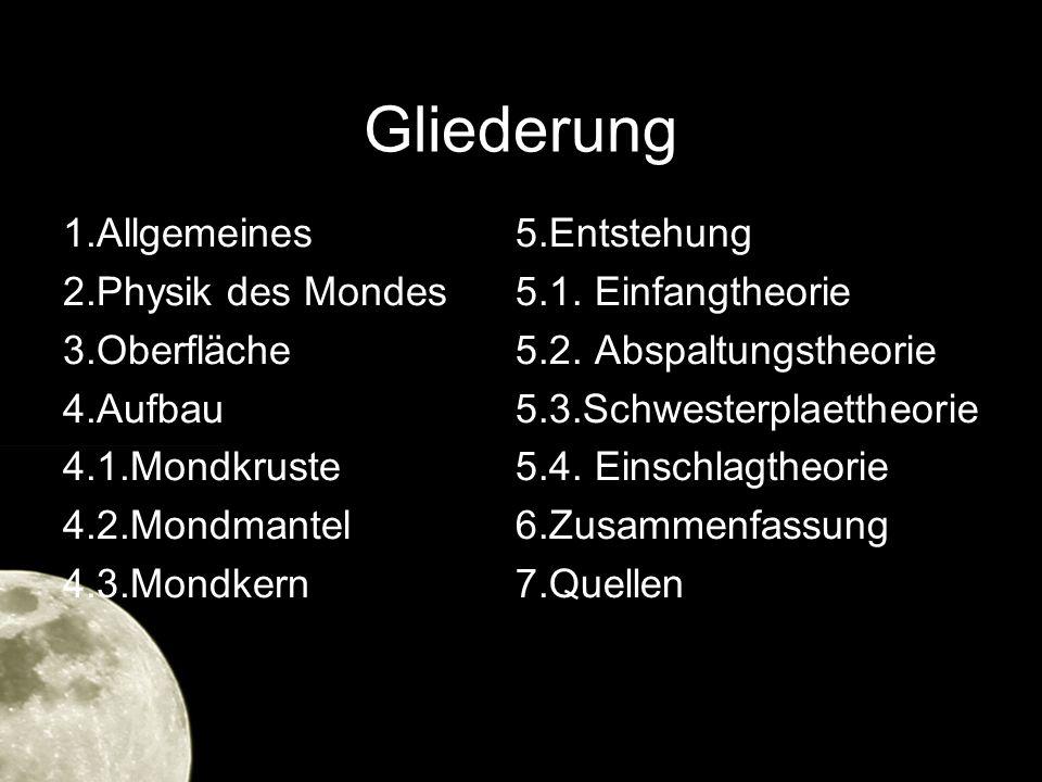 Gliederung 1.Allgemeines 2.Physik des Mondes 3.Oberfläche 4.Aufbau 4.1.Mondkruste 4.2.Mondmantel 4.3.Mondkern
