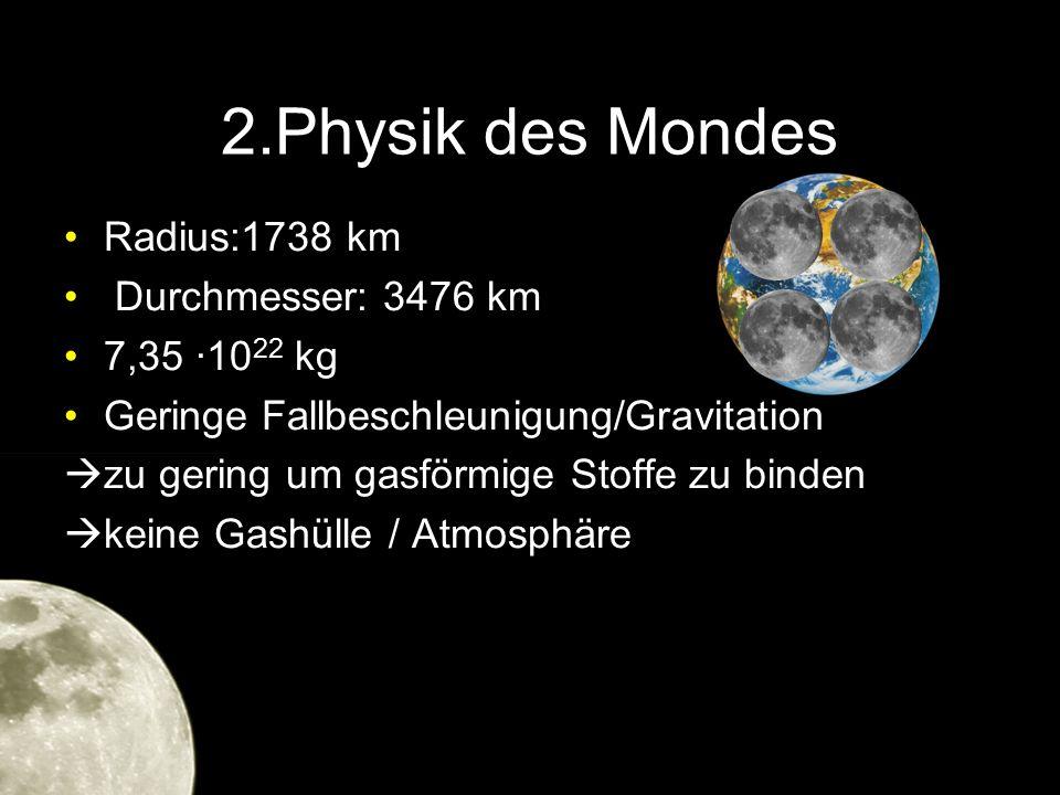 2.Physik des Mondes Radius:1738 km Durchmesser: 3476 km 7,35 ·1022 kg