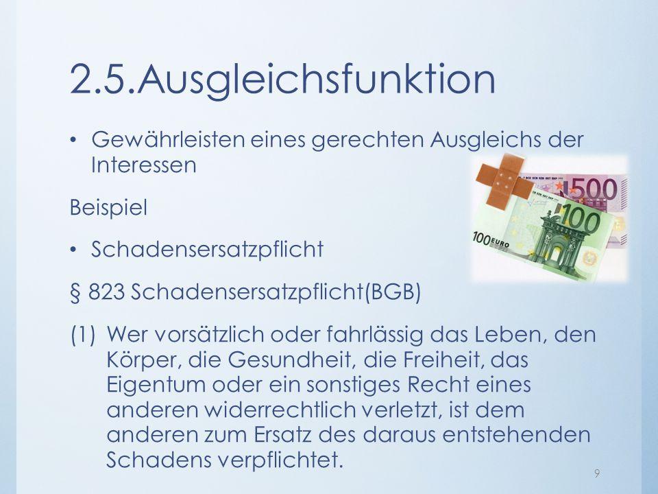 2.5.Ausgleichsfunktion Gewährleisten eines gerechten Ausgleichs der Interessen. Beispiel. Schadensersatzpflicht.