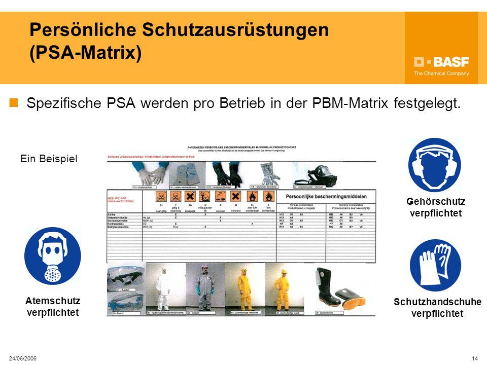 Persönliche Schutzausrüstungen (PSA-Matrix)