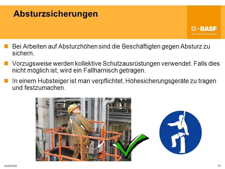 Absturzsicherungen Bei Arbeiten auf Absturzhöhen sind die Beschäftigten gegen Absturz zu sichern.