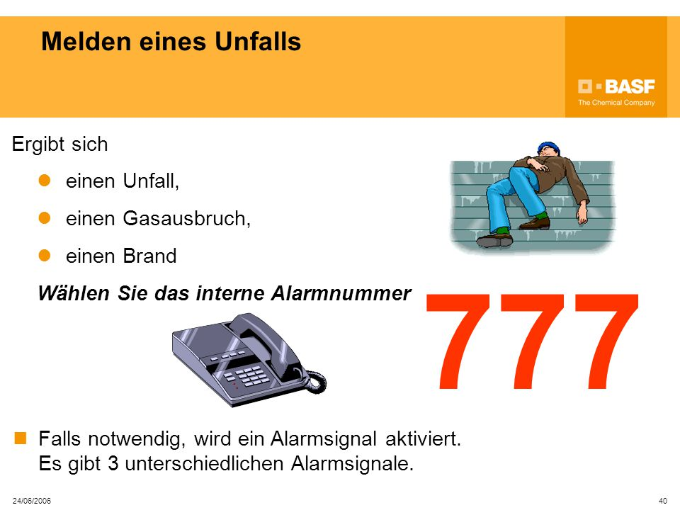 777 Melden eines Unfalls Ergibt sich einen Unfall, einen Gasausbruch,
