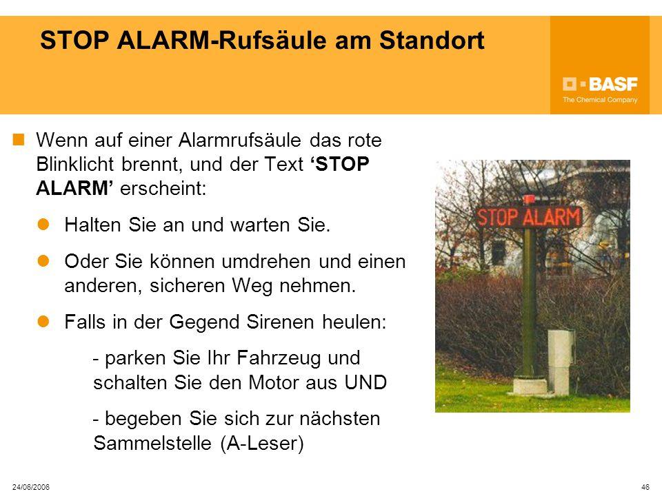 STOP ALARM-Rufsäule am Standort
