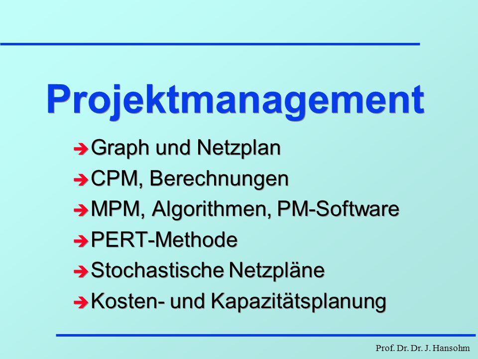 Projektmanagement Graph und Netzplan CPM, Berechnungen