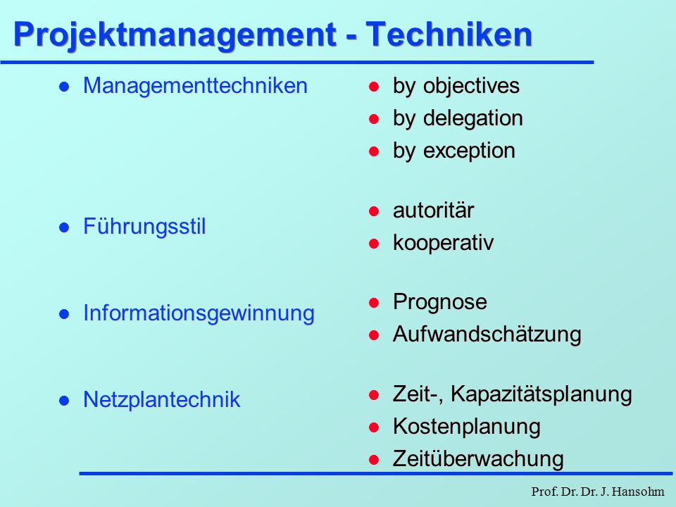 Projektmanagement - Techniken