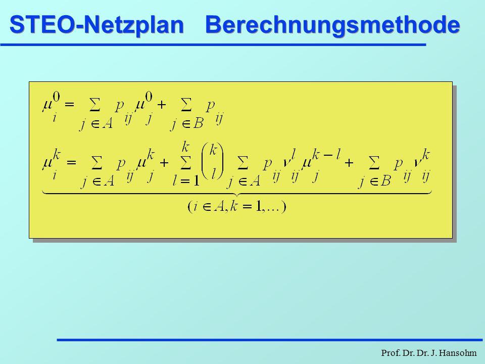 STEO-Netzplan Berechnungsmethode