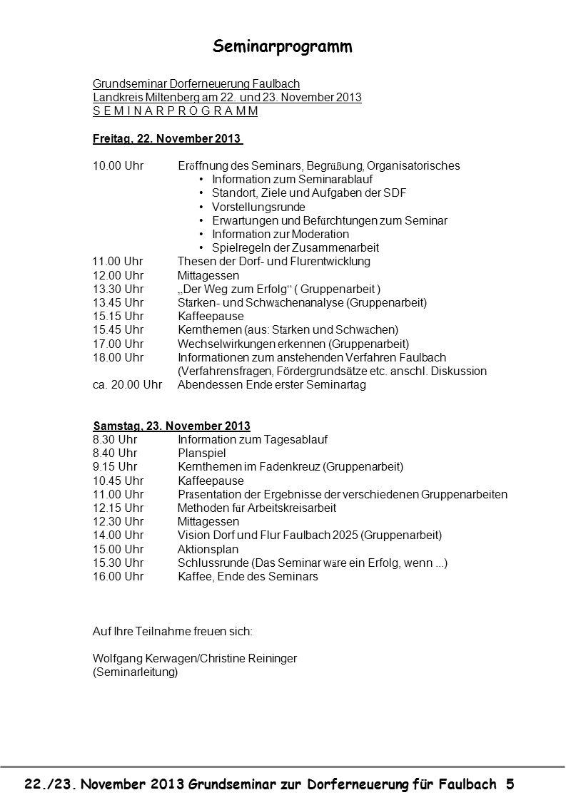 Seminarprogramm Grundseminar Dorferneuerung Faulbach