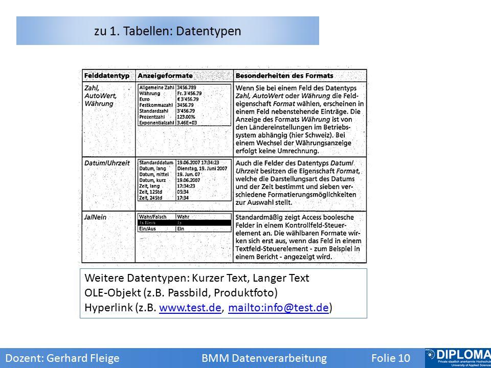 zu 1. Tabellen: Datentypen