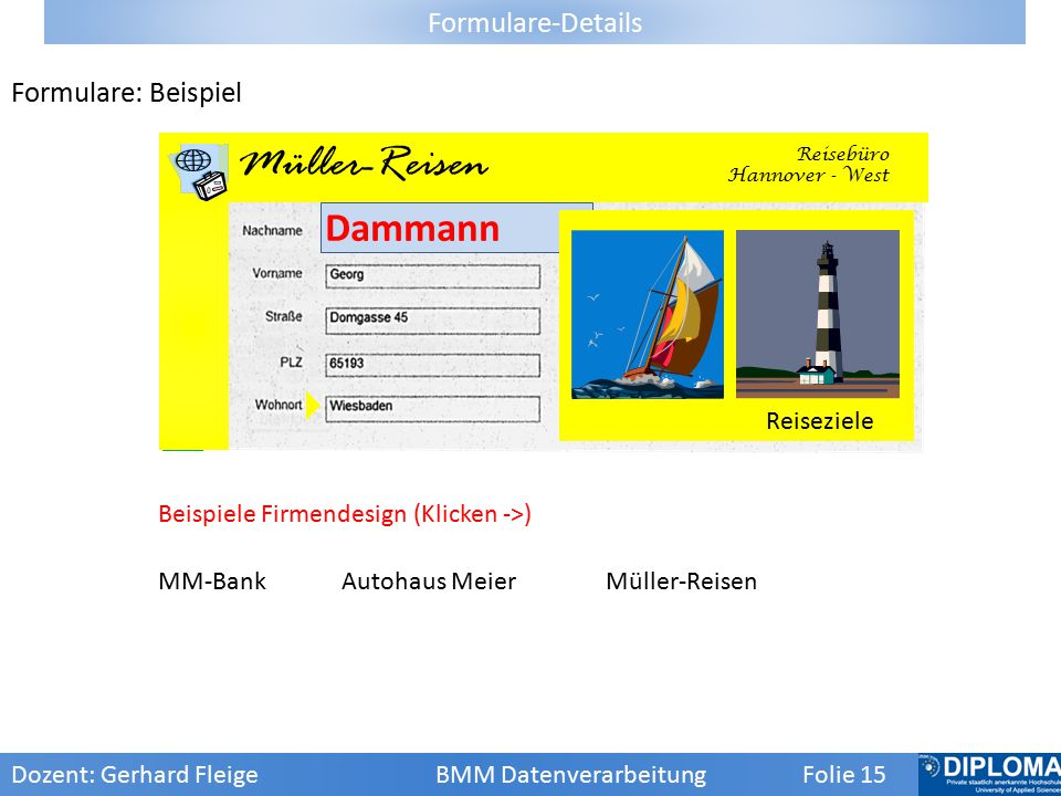 AM Autohaus Meier Müller-Reisen Dammann Formulare-Details