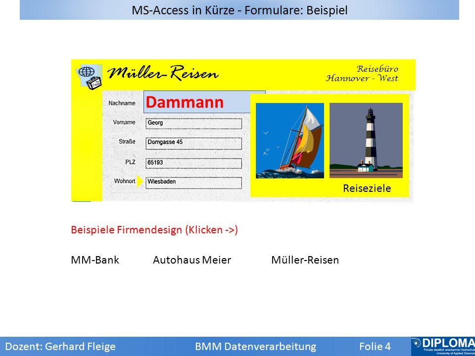 MS-Access in Kürze - Formulare: Beispiel