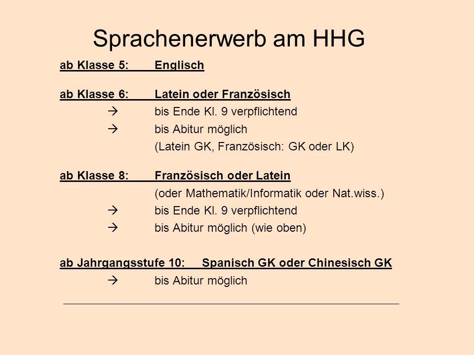 Sprachenerwerb am HHG ab Klasse 5: Englisch
