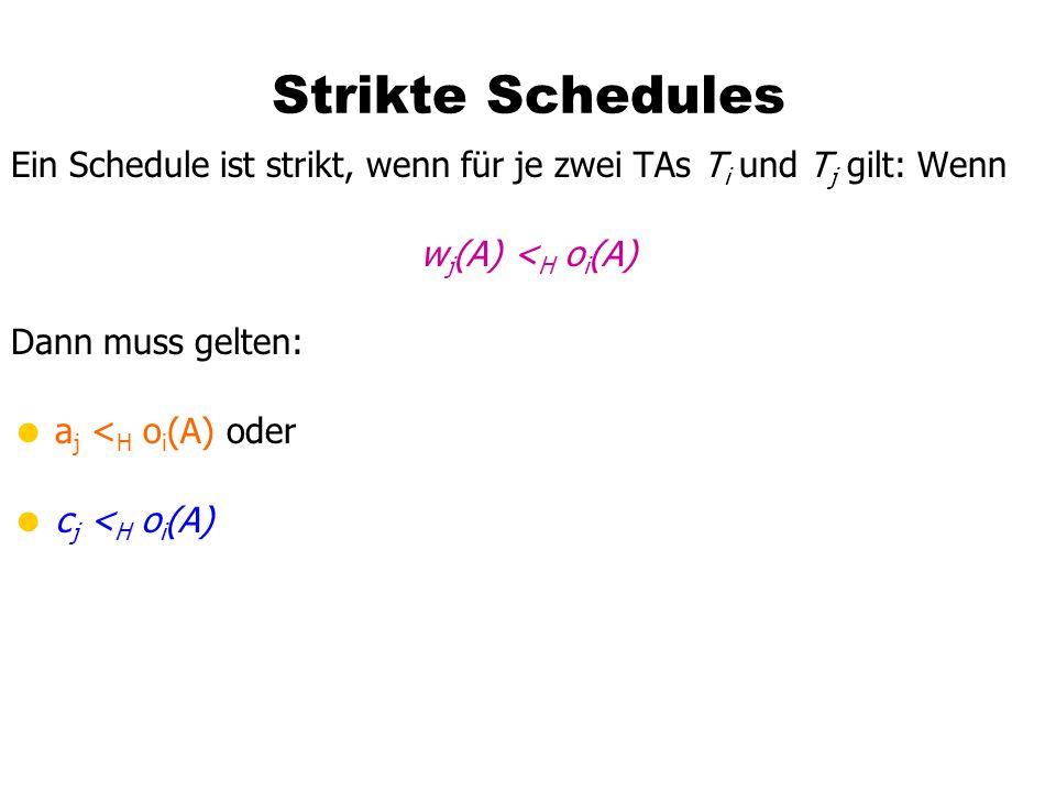 Strikte Schedules Ein Schedule ist strikt, wenn für je zwei TAs Ti und Tj gilt: Wenn. wj(A) <H oi(A)