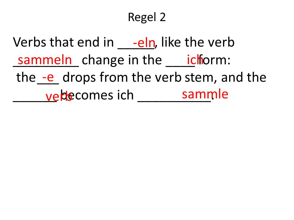 Regel 2 Verbs that end in _____, like the verb _________ change in the ____ form: