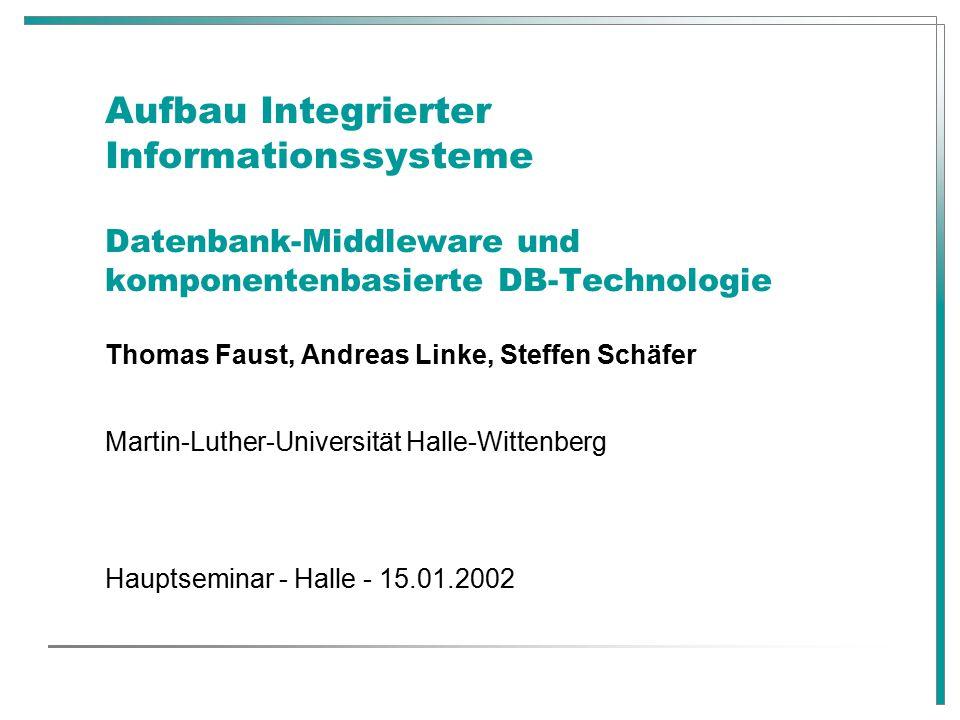 Aufbau Integrierter Informationssysteme Datenbank-Middleware und komponentenbasierte DB-Technologie