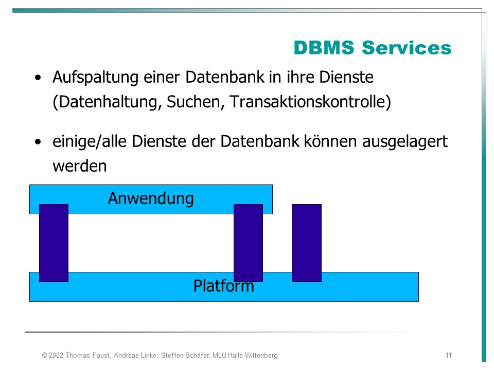 08.04.2017 DBMS Services. Aufspaltung einer Datenbank in ihre Dienste (Datenhaltung, Suchen, Transaktionskontrolle)