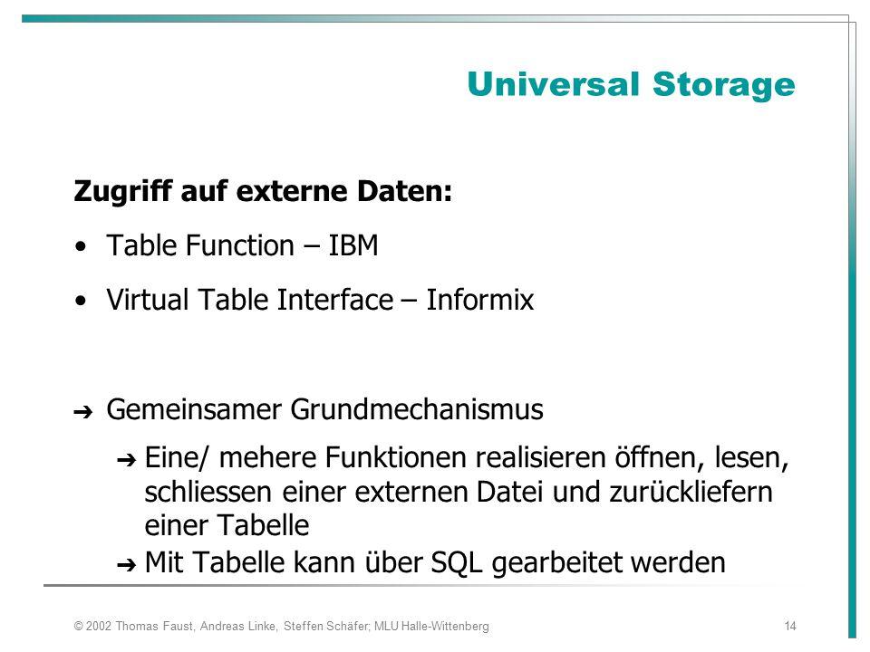 Universal Storage Zugriff auf externe Daten: Table Function – IBM