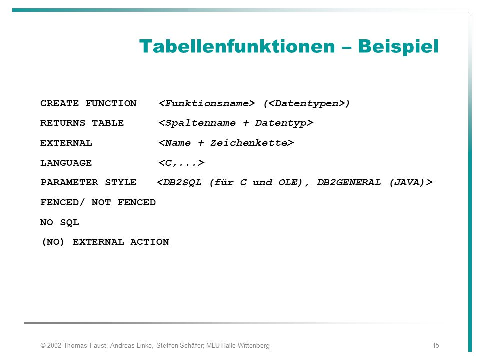 Tabellenfunktionen – Beispiel